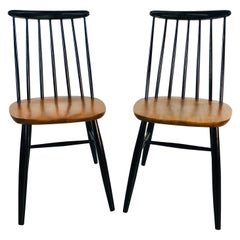 1960s Spindle Back Teak and Black Painted Chairs, Pair