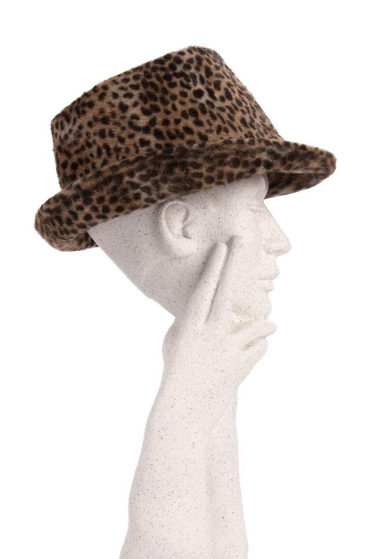 Gray 1960s Spotted Cheetah Animal Print Brown and Black Fur Felt Fedora Hat For Sale