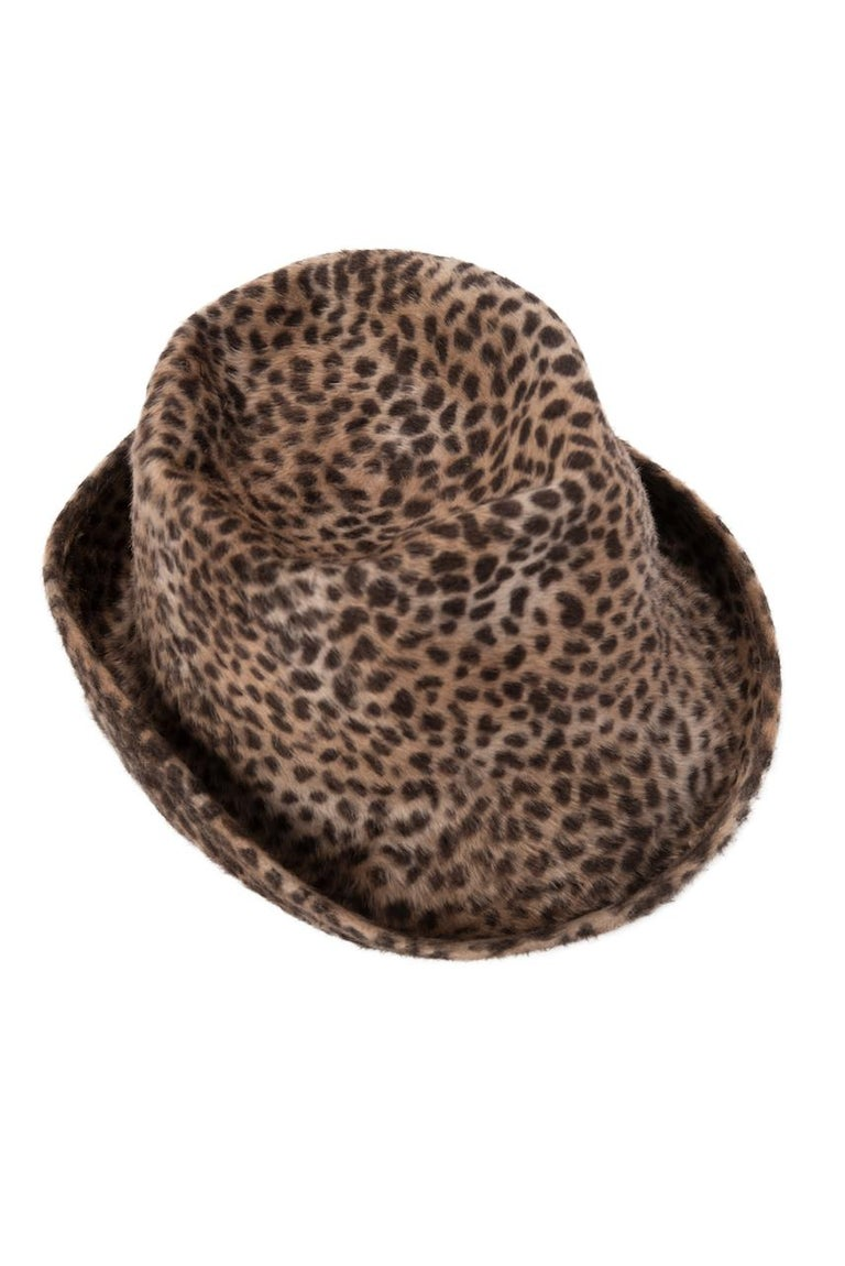 Women's 1960s Spotted Cheetah Animal Print Brown and Black Fur Felt Fedora Hat For Sale