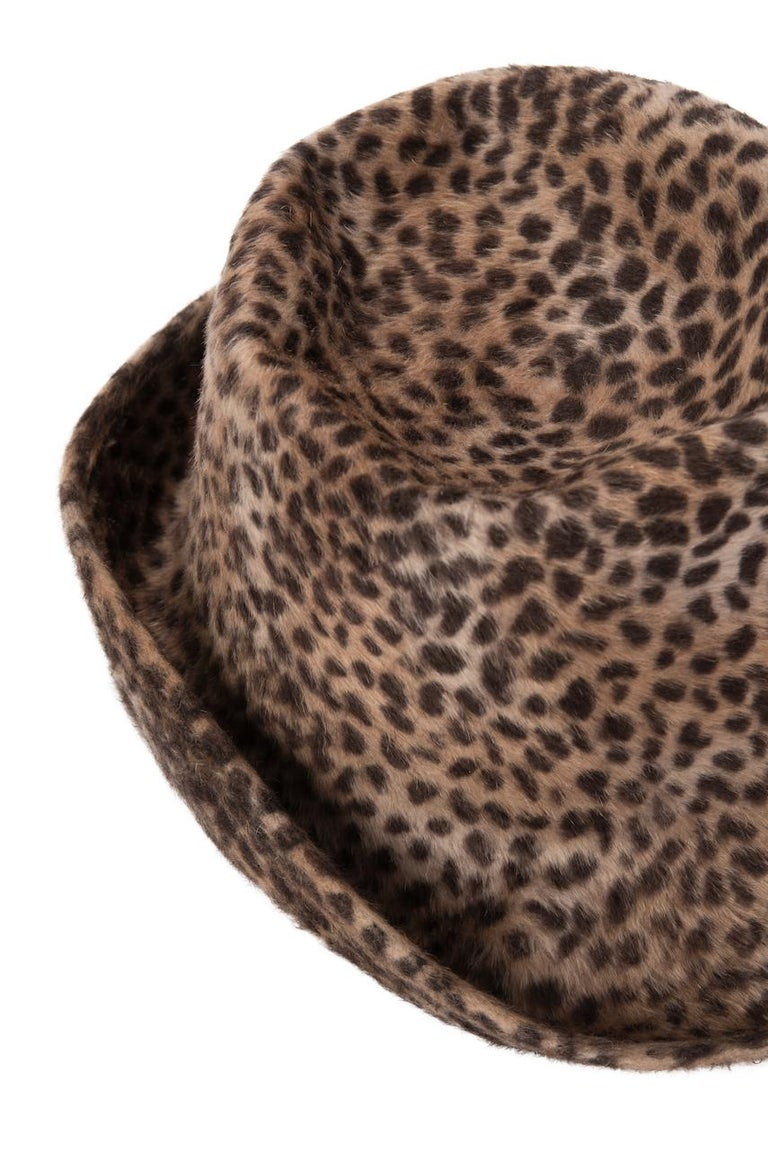 1960s Spotted Cheetah Animal Print Brown and Black Fur Felt Fedora Hat For Sale 3
