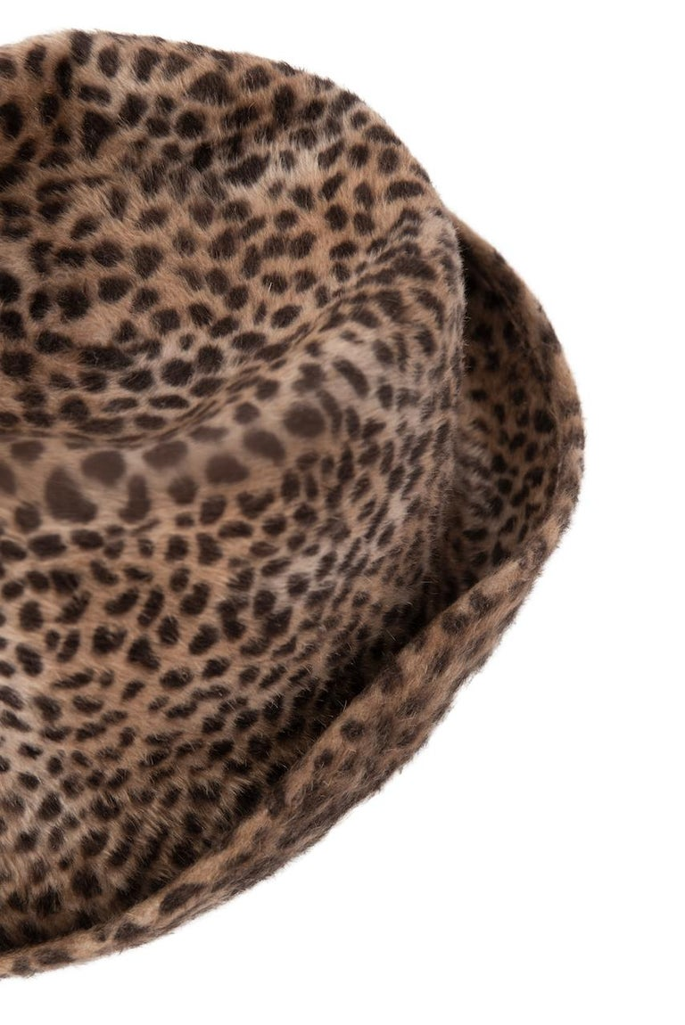 1960s Spotted Cheetah Animal Print Brown and Black Fur Felt Fedora Hat For Sale 4