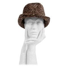 1960s Spotted Cheetah Animal Print Brown and Black Fur Felt Fedora Hat