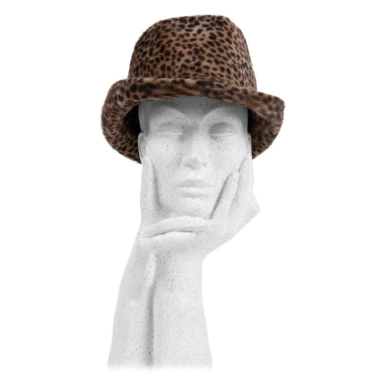 1960s Spotted Cheetah Animal Print Brown and Black Fur Felt Fedora Hat For Sale