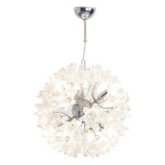 1960s Sputnik Chandelier with Glass Floral Shades