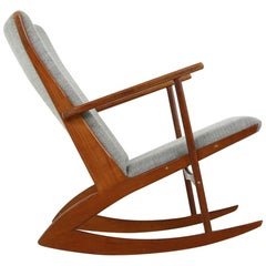 1960s Søren Georg Jensen Teak Rocking Chair, Mod. 97 Danish Modern Lounge Rocker