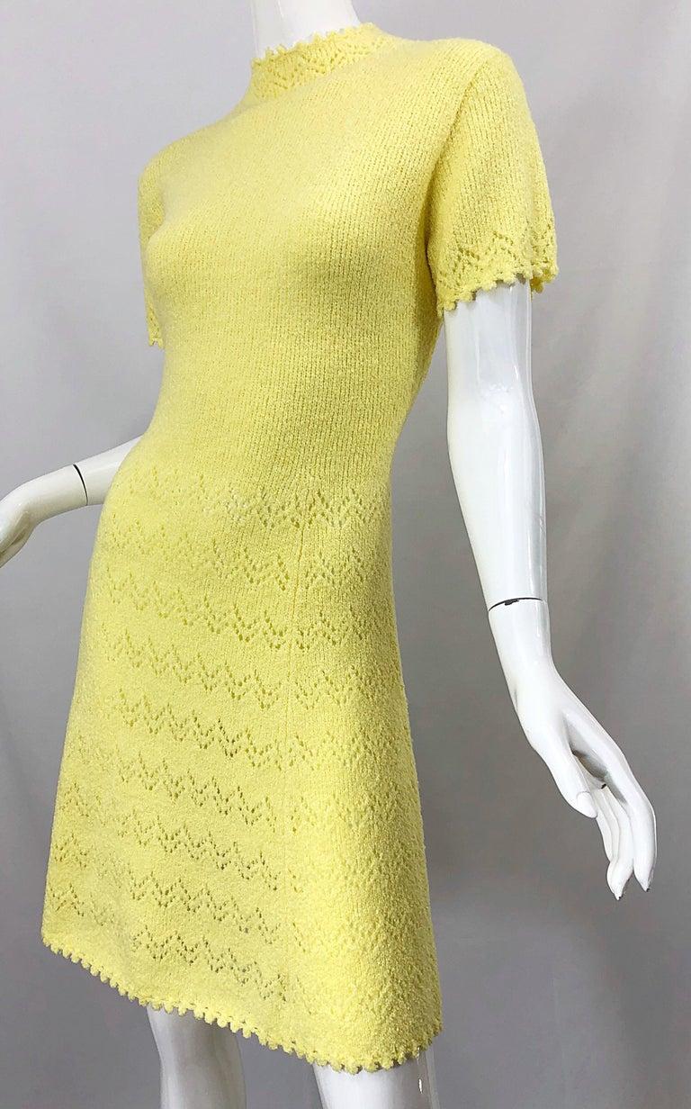 1960s St John Canary Yellow Santana Knit Mod Crochet Vintage A Line 60s Dress For Sale 7
