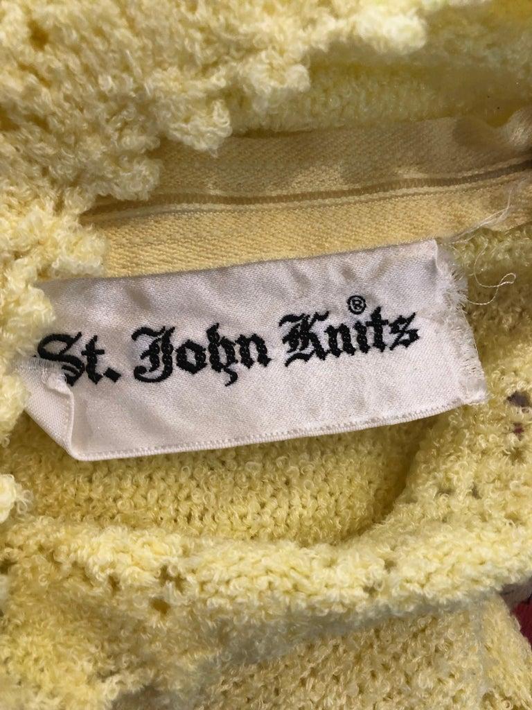 1960s St John Canary Yellow Santana Knit Mod Crochet Vintage A Line 60s Dress For Sale 10