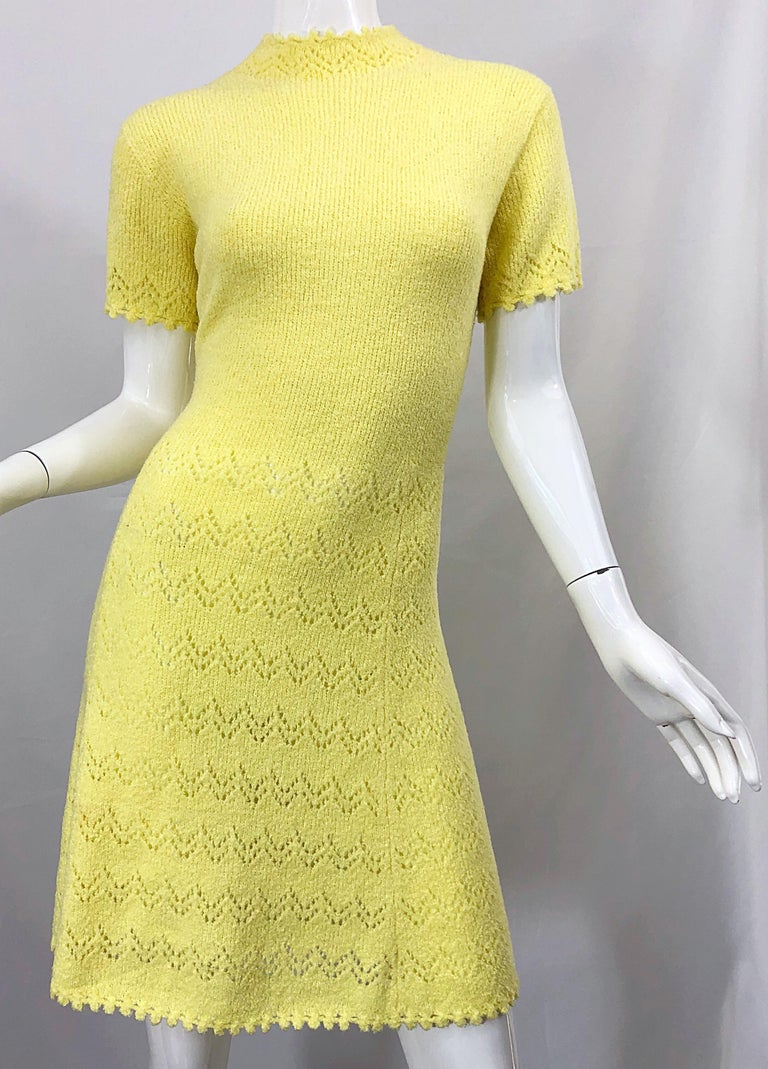 1960s St John Canary Yellow Santana Knit Mod Crochet Vintage A Line 60s Dress For Sale 4