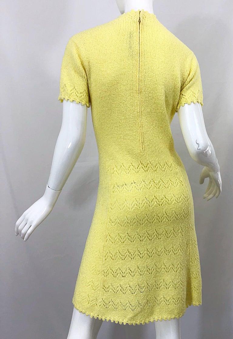 1960s St John Canary Yellow Santana Knit Mod Crochet Vintage A Line 60s Dress For Sale 5