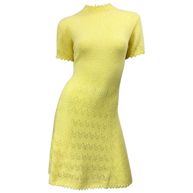 1960s St John Canary Yellow Santana Knit Mod Crochet Vintage A Line 60s Dress For Sale