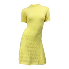 1960s St John Canary Yellow Santana Knit Mod Crochet Vintage A Line 60s Dress