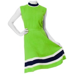 1960S ST JOHN Knit Mod Sleeveless Green Midi Dress