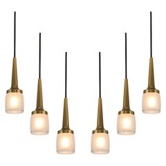 1960s Staff Leuchten Glass and Brass Pendants