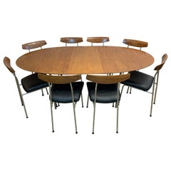 1960s Stag Furniture Oval Extending Dining Table and 8 S230 Dining Chairs