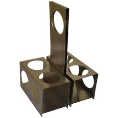 1960s Stainless Steel Bottle Holder in the Style of Pierre Cardin