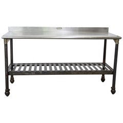 1960s Stainless Steel Top Commercial Kitchen Table
