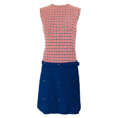 1960s Stanley Wyllins Navy Blue and Red Checkered Vintage 60s Wool Shift Dress