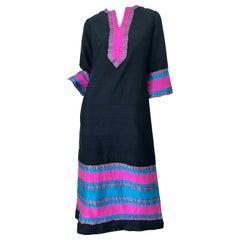 1960s Star of Siam Thai Silk Black Pink Blue Striped Vintage Caftan Maxi Dress