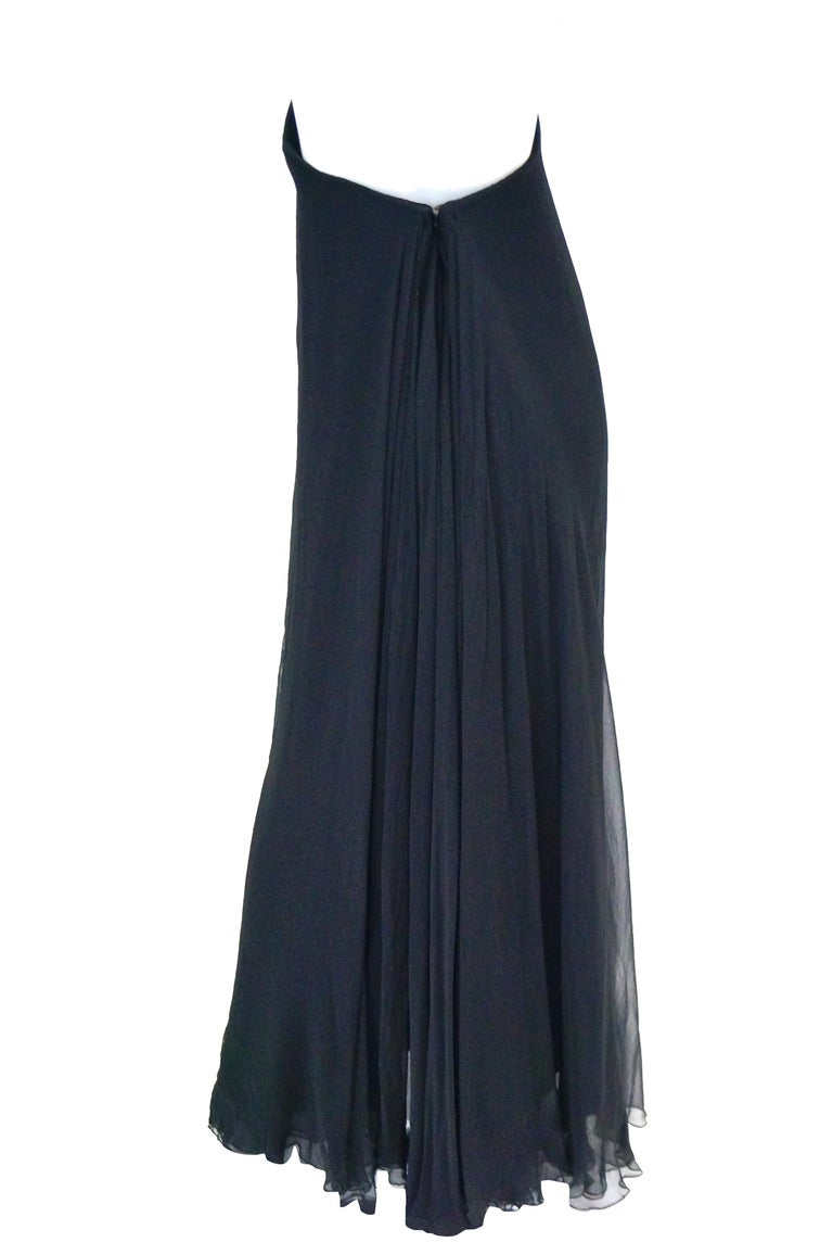1960s Stavropoulos Black Silk Evening Dress  For Sale 1