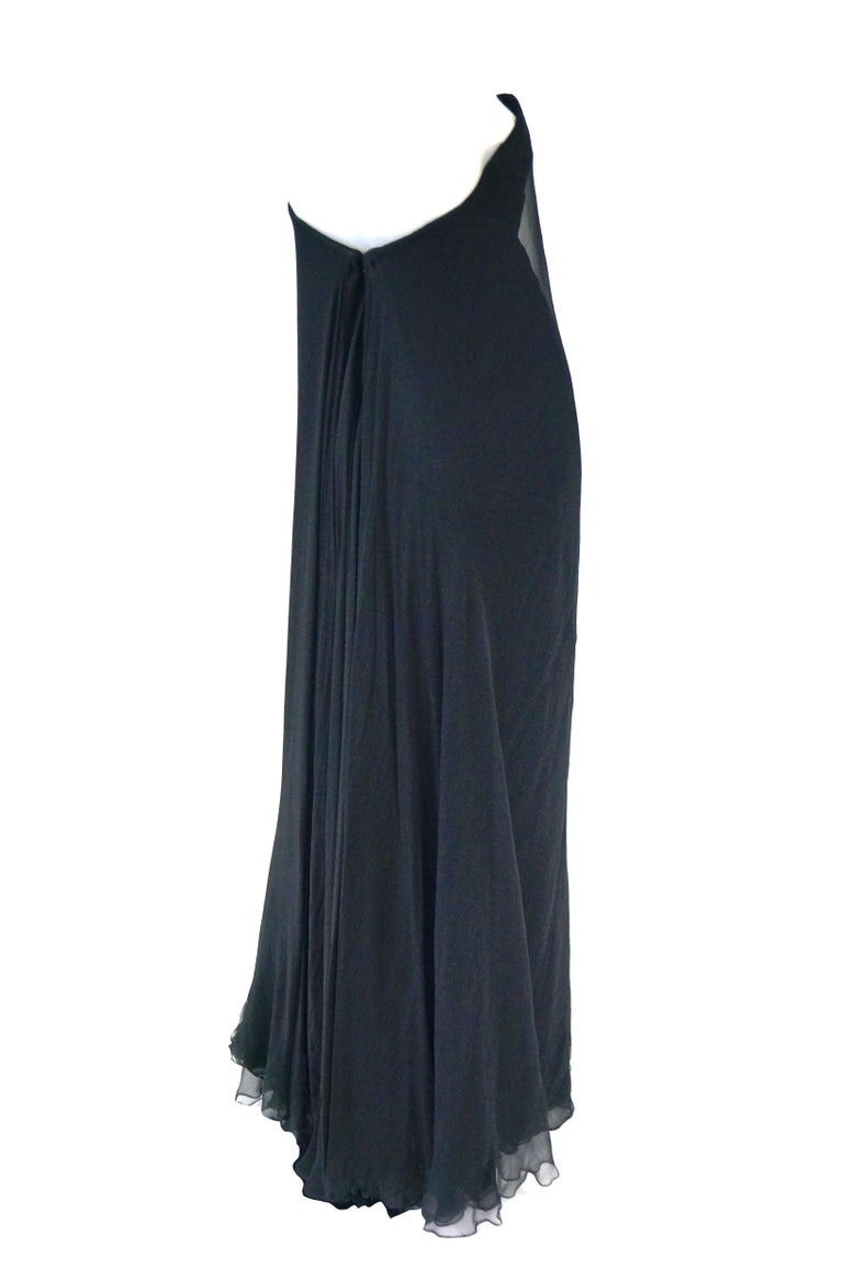 1960s Stavropoulos Black Silk Evening Dress  For Sale 2