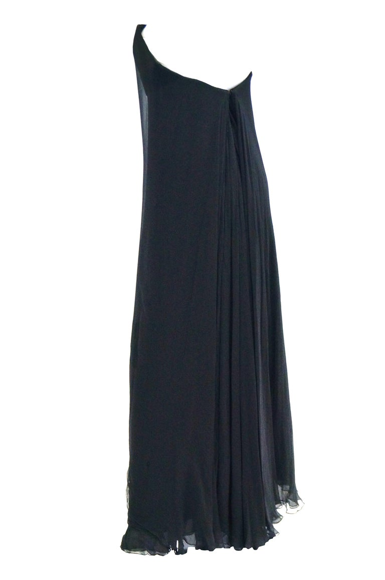 1960s Stavropoulos Black Silk Evening Dress  For Sale 3