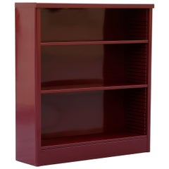 1960s Steel Bookcase Refinished in Wine Red