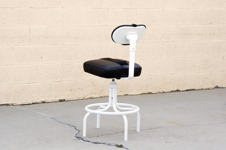 Mid-Century Modern 1960s Steel Drafting Stool Refinished in Leather and Cowhide For Sale