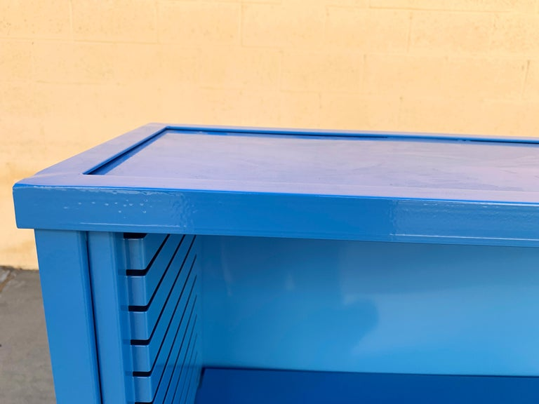 American 1960s Steel Tanker Style Bookcase in Blue 'BL05', Custom Refinished For Sale