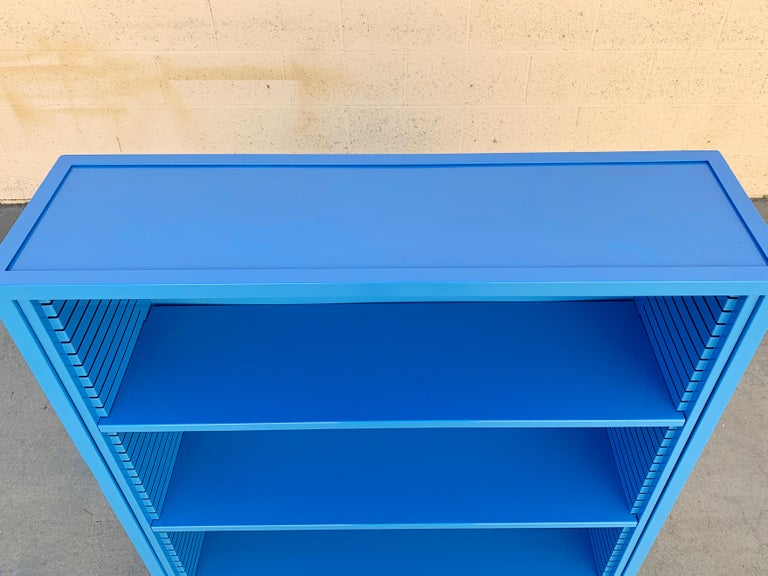 Powder-Coated 1960s Steel Tanker Style Bookcase in Blue 'BL05', Custom Refinished For Sale