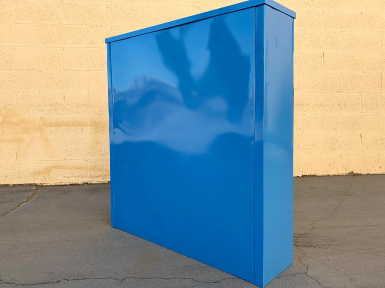 Contemporary 1960s Steel Tanker Style Bookcase in Blue 'BL05', Custom Refinished For Sale