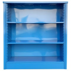1960s Steel Tanker Style Bookcase in Blue 'BL05', Custom Refinished