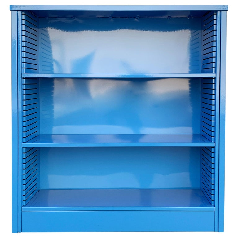 1960s Steel Tanker Style Bookcase in Blue 'BL05', Custom Refinished For Sale