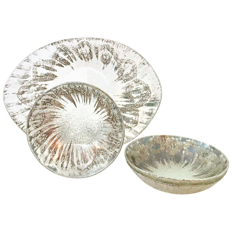 1960s Sterling Silver & Blown Glass Serving Pieces Set of Four by Dorothy Thorpe For Sale