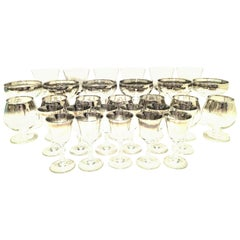"""1960s Sterling Silver """"Fade"""" Stem Drink Glasses Set of 30 by, Dorothy Thorpe"""