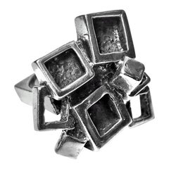 1960s Sterling Silver Modernist Brutalist Ring