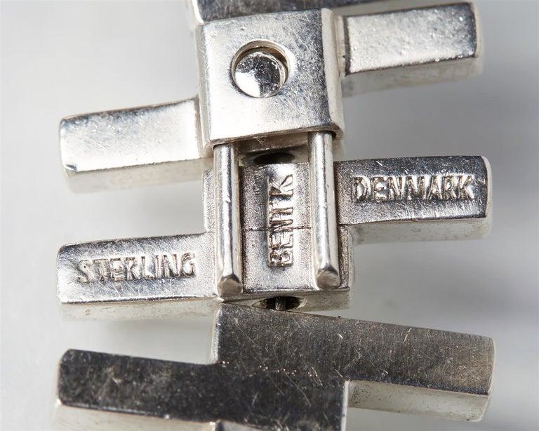 Women's or Men's 1960s Sterling Silver Scandinavian Modern Bracelet by Bent Knudsen For Sale