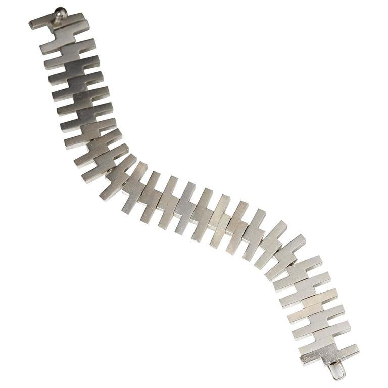 1960s Sterling Silver Scandinavian Modern Bracelet by Bent Knudsen For Sale