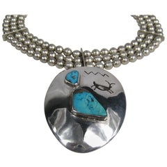 1960s Sterling Silver Turquoise Beaded Necklace Pawn