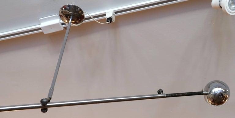 Mid-Century Modern Stilnovo Adjustable Chrome Pendant Chandelier, 1960s For Sale