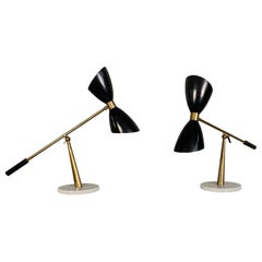 1960s Stilnovo Style Diabolo Table Lamp with Marble Foot