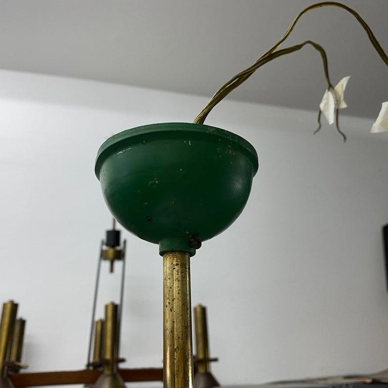 1960s Stilnovo Style Mid-Century Modern Brass and Glass Chandelier For Sale 5