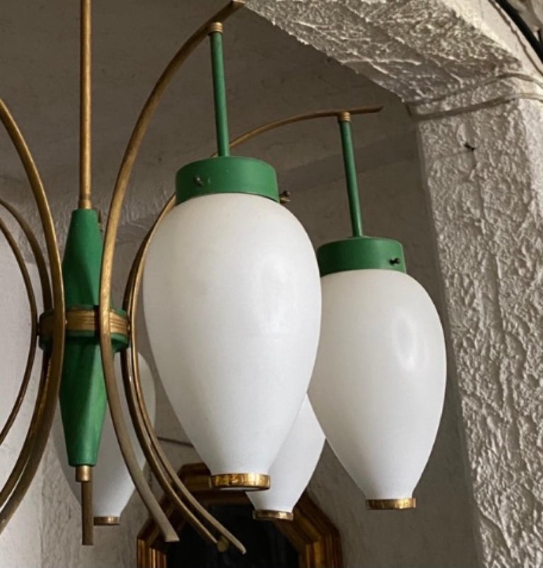 1960s Stilnovo Style Mid-Century Modern Brass and Glass Chandelier For Sale 6