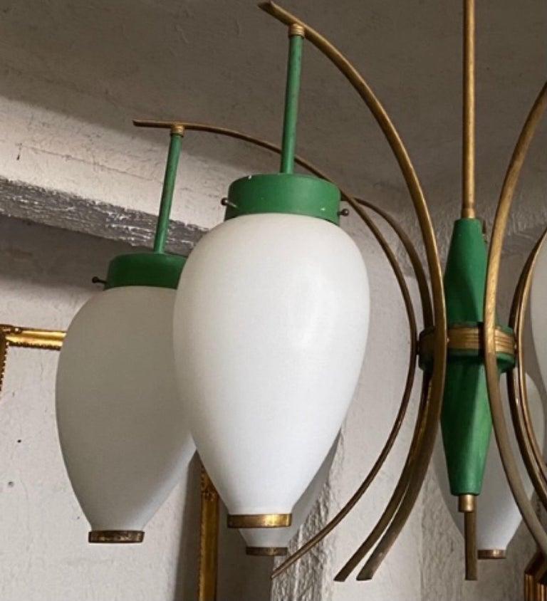 1960s Stilnovo Style Mid-Century Modern Brass and Glass Chandelier For Sale 7