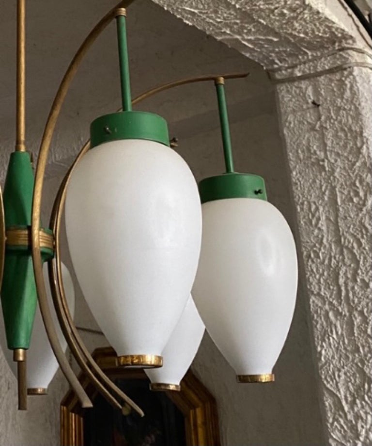 1960s Stilnovo Style Mid-Century Modern Brass and Glass Chandelier For Sale 8