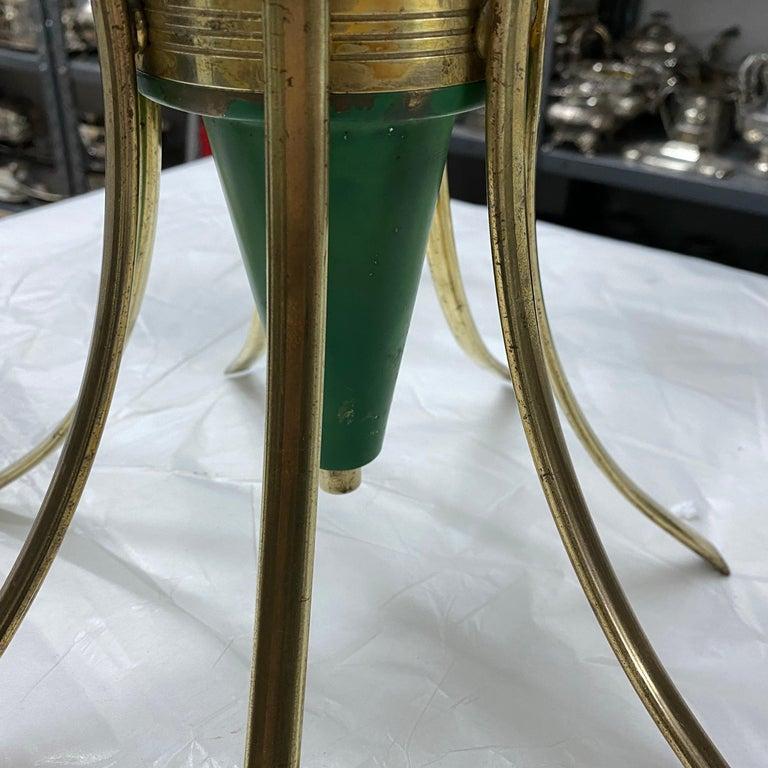 1960s Stilnovo Style Mid-Century Modern Brass and Glass Chandelier For Sale 3