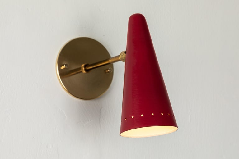 1960s Stilux Articulating Red Cone Sconces For Sale 4