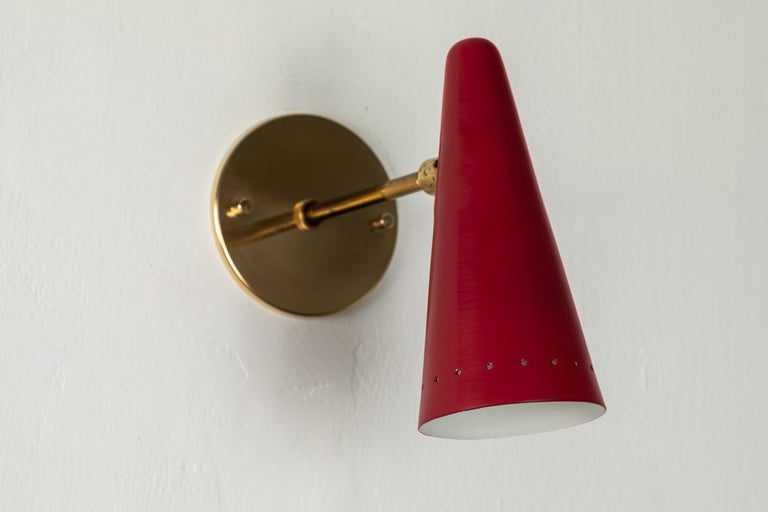 1960s Stilux Articulating Red Cone Sconces For Sale 5