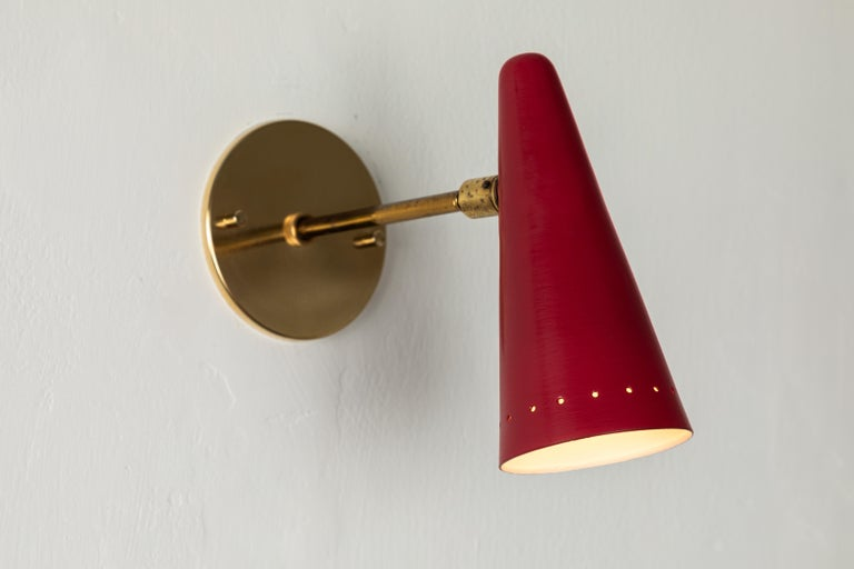 1960s Stilux Articulating Red Cone Sconces For Sale 6