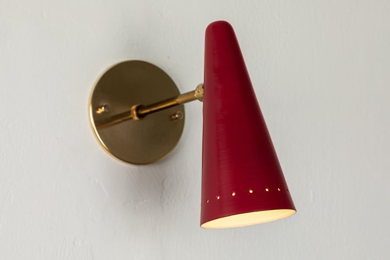 1960s Stilux Articulating Red Cone Sconces For Sale 7