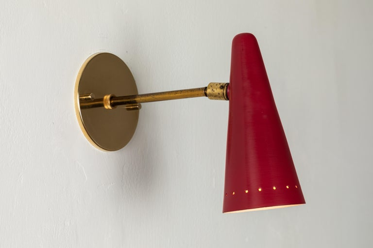 1960s Stilux Articulating Red Cone Sconces For Sale 9